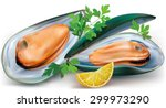 mussels on a open shells with... | Shutterstock .eps vector #299973290
