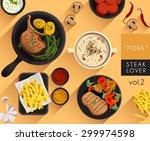 food illustration   pork steak... | Shutterstock .eps vector #299974598