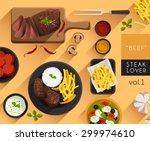 food illustration   beef steak... | Shutterstock .eps vector #299974610
