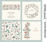 vector set  floral backgrounds. ... | Shutterstock .eps vector #299978660