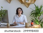 woman smiling at office during... | Shutterstock . vector #299998400