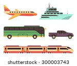 transportation icon set in flat ... | Shutterstock .eps vector #300003743