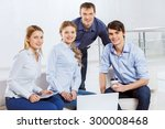 four co workers discussing... | Shutterstock . vector #300008468