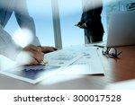 double exposure of business... | Shutterstock . vector #300017528