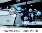 double exposure of hand showing ...   Shutterstock . vector #300019070