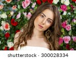 beautiful young brunette woman... | Shutterstock . vector #300028334