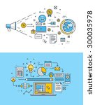 set of thin line flat design... | Shutterstock .eps vector #300035978