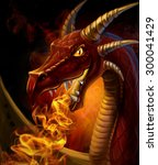 Head Dragon Close Up Fires Fro...