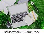 workspace on grass.   Shutterstock . vector #300042929