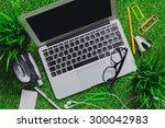 workspace on grass. | Shutterstock . vector #300042983