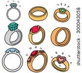 vector set of wedding ring | Shutterstock .eps vector #300043058