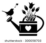 vector tulips in watering can...   Shutterstock .eps vector #300058703