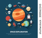 space theme banners and cards... | Shutterstock .eps vector #300062243