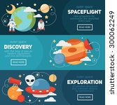 space theme banners and cards... | Shutterstock .eps vector #300062249