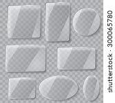 set of transparent glass plates ...   Shutterstock .eps vector #300065780