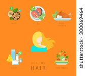 flat healthy hair lifestyle... | Shutterstock .eps vector #300069464
