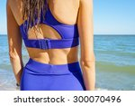 long haired girl in bikini on... | Shutterstock . vector #300070496