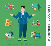 flat fat unhealthy lifestyle... | Shutterstock .eps vector #300070556