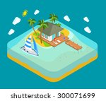 life on tropic island privacy... | Shutterstock .eps vector #300071699