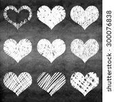 set of grunge vector hearts.... | Shutterstock .eps vector #300076838
