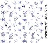 hand drawn seamless pattern....   Shutterstock .eps vector #300077378