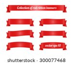 Set Of Red Ribbon Banners For...