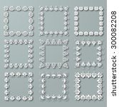 set of white vector floral... | Shutterstock .eps vector #300082208