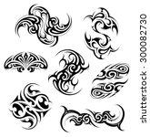 tribal art tattoo set featuring ... | Shutterstock .eps vector #300082730