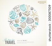 summer sea shells concept.... | Shutterstock .eps vector #300087509
