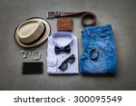 men's casual outfits on gray... | Shutterstock . vector #300095549