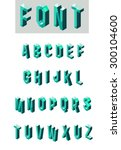 set of isometric glass font in... | Shutterstock .eps vector #300104600