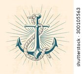anchor with rope  hand drawn... | Shutterstock .eps vector #300105563