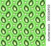 watercolor kiwi slice fruit... | Shutterstock . vector #300106910