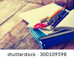 school supplies on wooden... | Shutterstock . vector #300109598