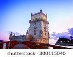 torre of belem at  sunset ... | Shutterstock . vector #300115040