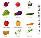 vegetables isolated icons set... | Shutterstock .eps vector #300116780