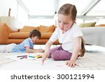 brother and sister drawing... | Shutterstock . vector #300121994