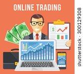 online trading flat... | Shutterstock .eps vector #300129308