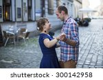 young couple dancing on the... | Shutterstock . vector #300142958