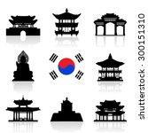 korea travel icon set. vector...