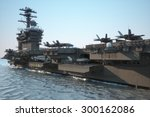 navy aircraft carrier angled... | Shutterstock . vector #300162086