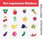 a set of vegetarian stickers...   Shutterstock .eps vector #300177263