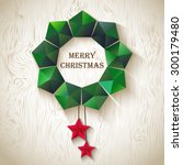 christmas wreath of geometric... | Shutterstock .eps vector #300179480