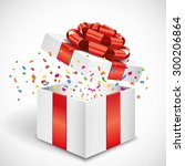 open gift box with red bow and... | Shutterstock .eps vector #300206864