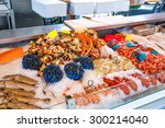 Various Seafood On The Shelves...