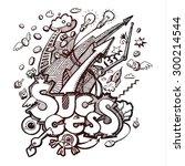 business hand drawn doodles.... | Shutterstock . vector #300214544