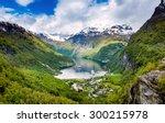 geiranger fjord  beautiful... | Shutterstock . vector #300215978