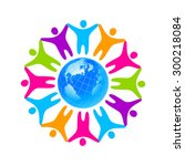 people around the planet.... | Shutterstock .eps vector #300218084