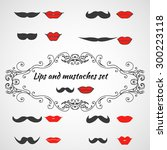 set of lips and mustaches. lady ... | Shutterstock .eps vector #300223118