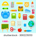 collection of cute cartoon... | Shutterstock .eps vector #300225053